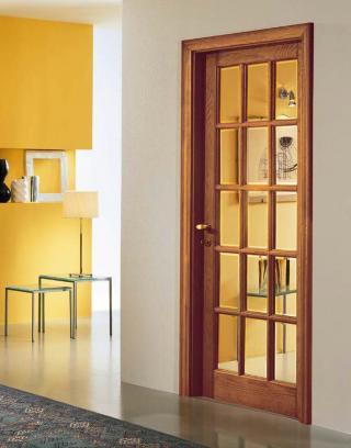 Porta in legno Garofoli Classica rovere naturale e vetro